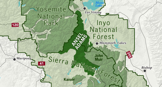 area map of Ansel Adams