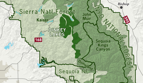 area map of Dinkey Lakes