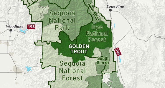 area map of Golden Trout