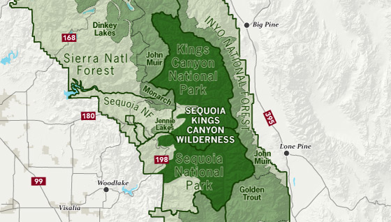 area map of Sequoia-Kings Canyon