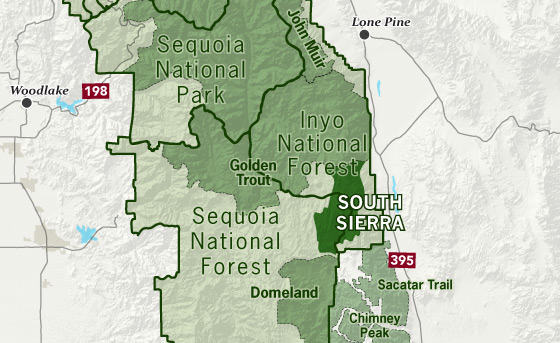 area map of South Sierra