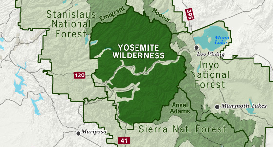 area map of Yosemite